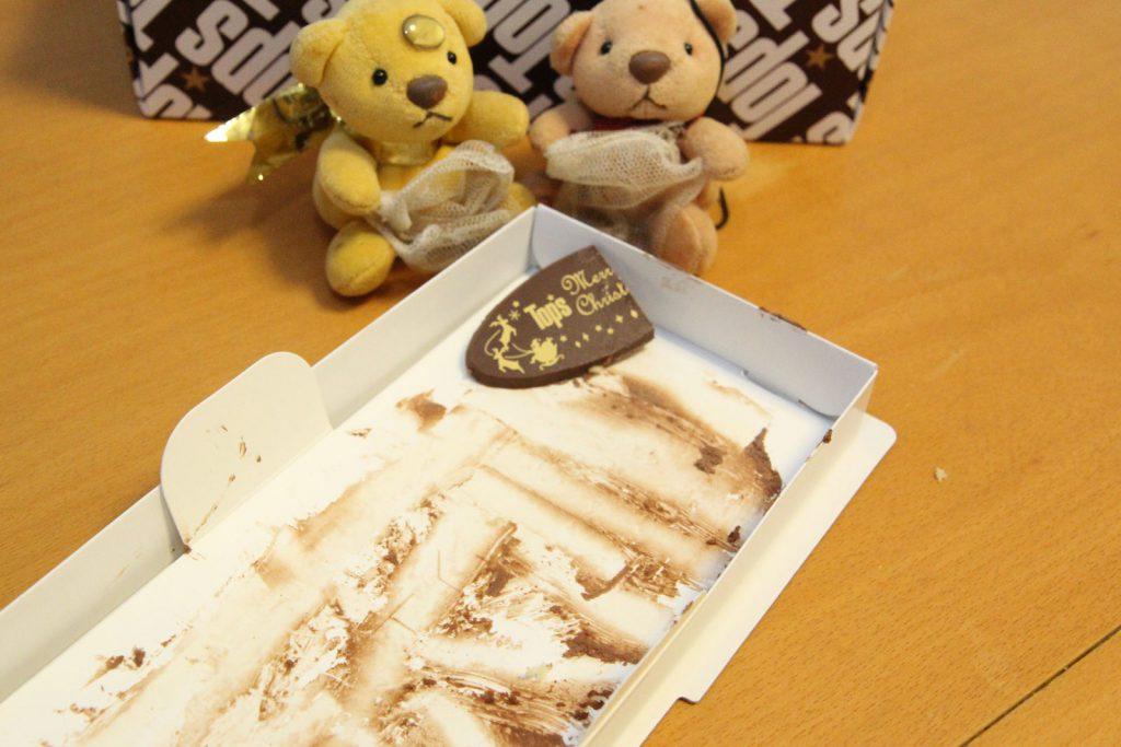 トップスのチョコレートケーキを完食