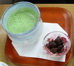 抹茶ミルクと甘納豆